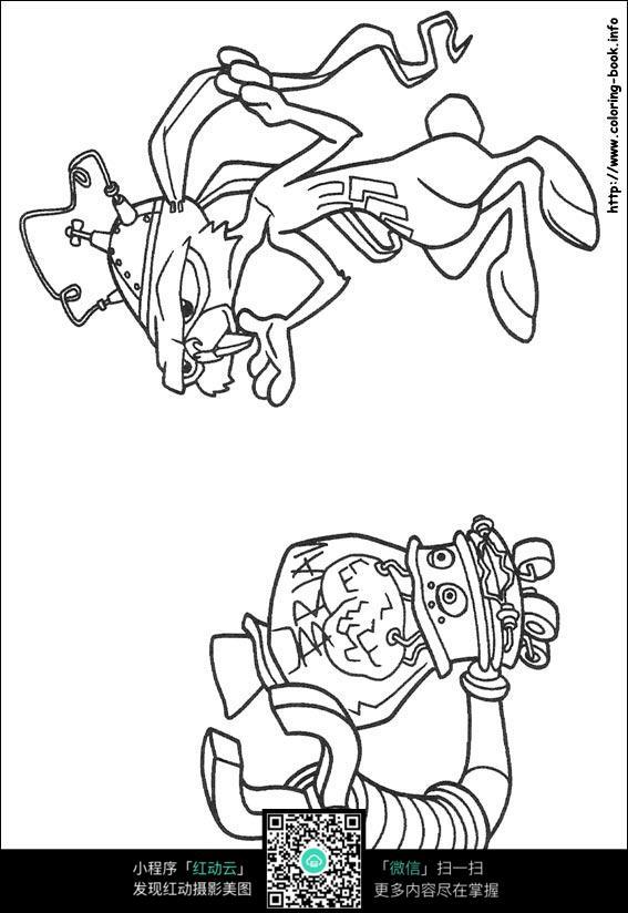 小兔子线描_教大家画两只小兔子线描画兔子教程7_儿童画