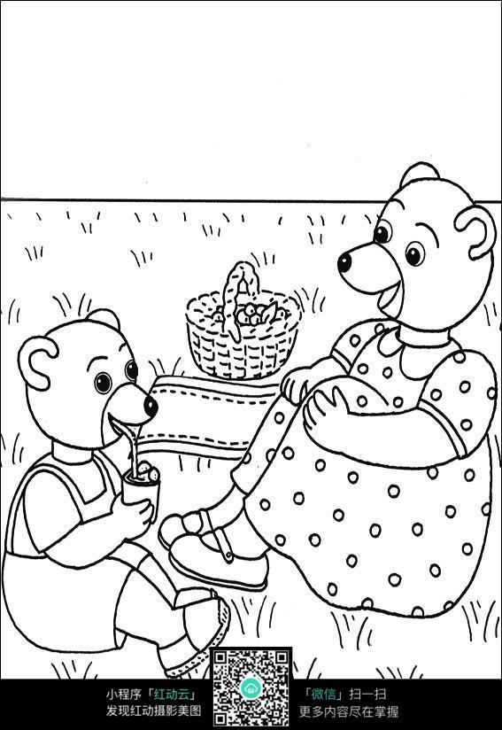 免费素材 图片素材 漫画插画 人物卡通 卡通小熊和妈妈坐在草地上