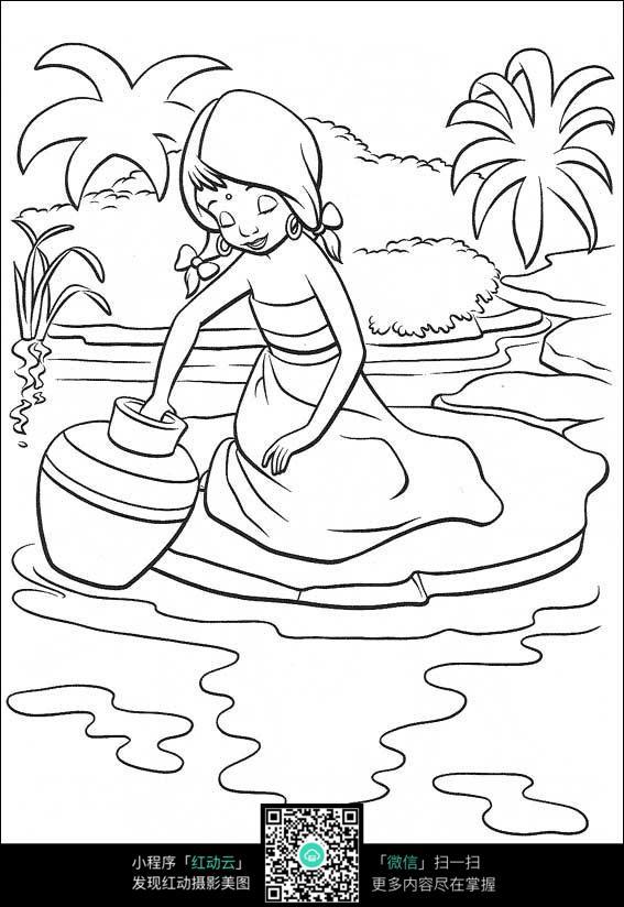 卡通洗坛子的美女手绘线描图片
