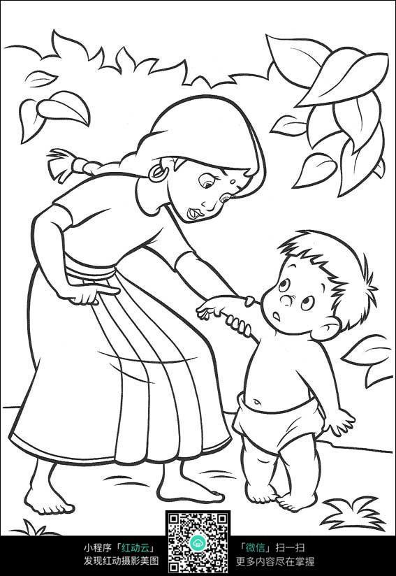 卡通学走路的小孩妈妈手绘线描图片
