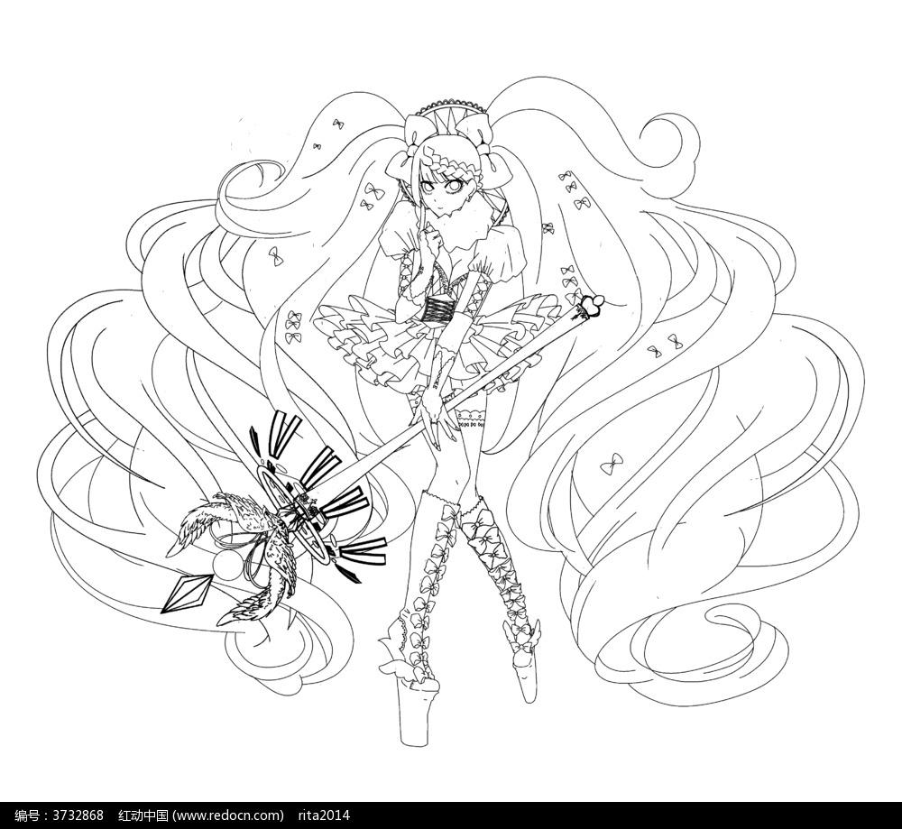 卡通战斗美少女黑白简笔画图片素材