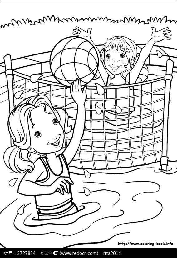 的女孩 在 玩排球 图片 人物卡通图片