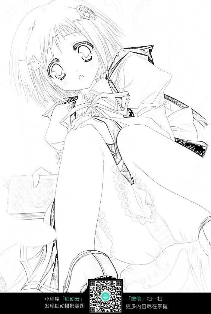 可爱女孩卡通手绘线稿