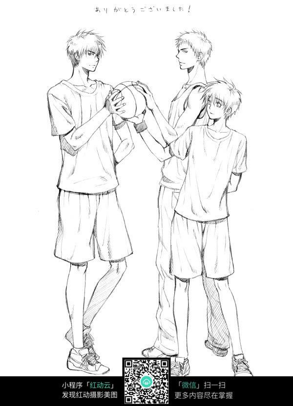 篮球男孩卡通手绘线稿