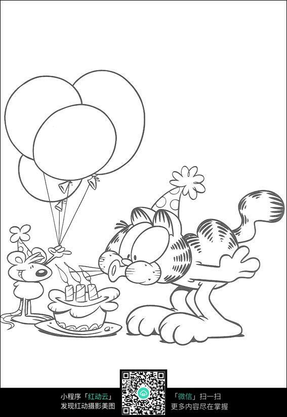 老鼠和咖啡猫卡通手绘线稿