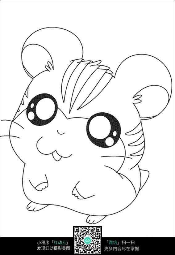 老鼠卡通手绘线稿