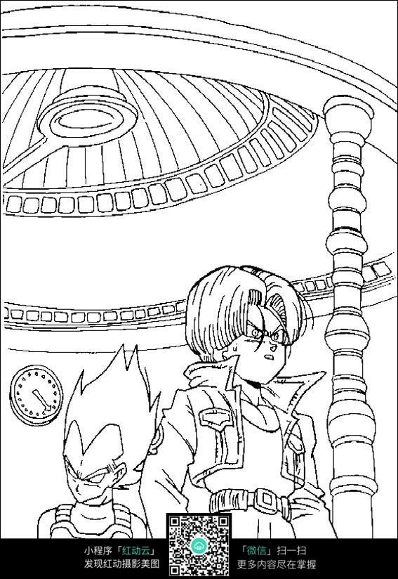 龙珠动漫游戏人物线描