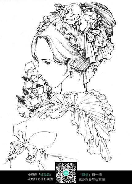 美女头像卡通手绘线稿_人物卡通图片_红动手机版