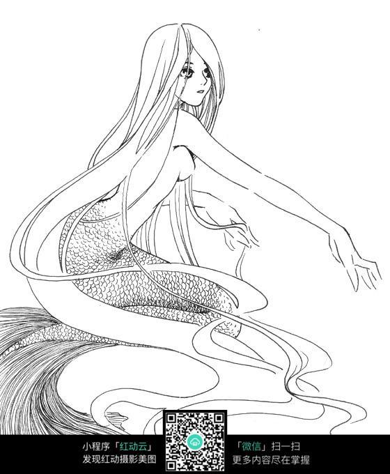 美人鱼卡通手绘线稿