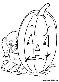 南瓜灯和小狗卡通手绘线稿