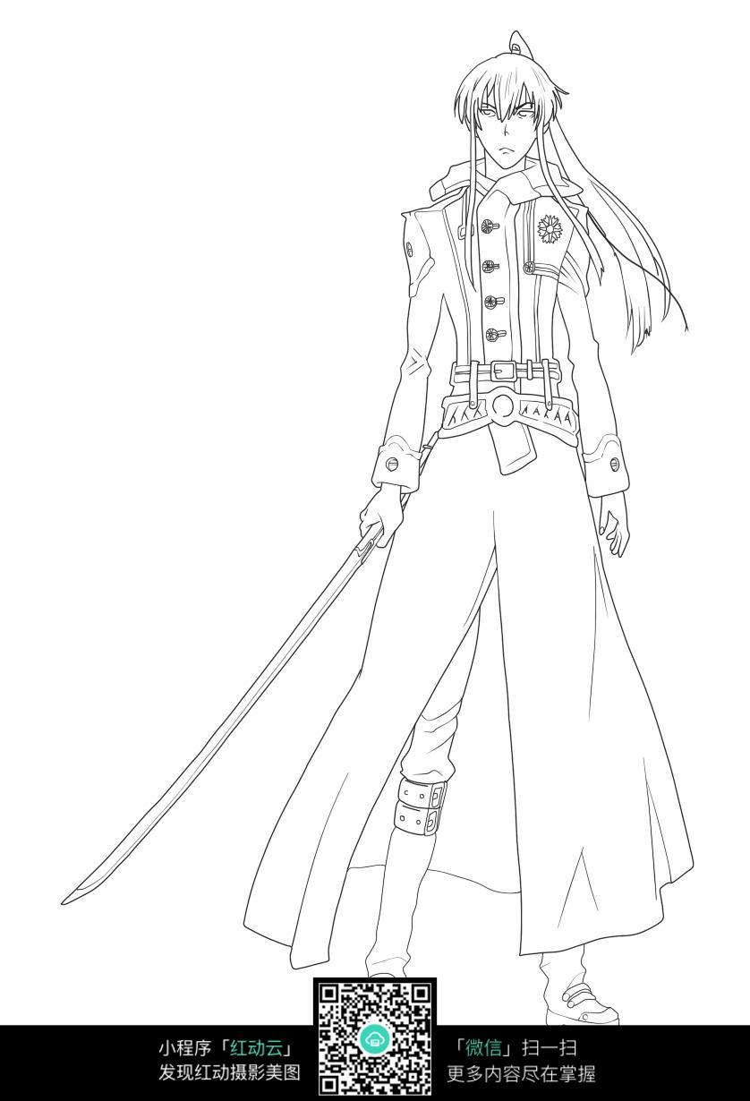 手绘紫衣拿剑古装美女