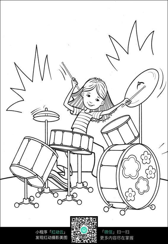 女孩打鼓_人物卡通图片