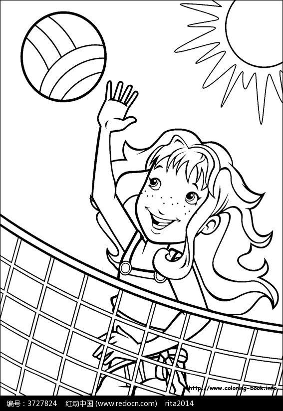 女孩 打排球 卡通 手绘 填色线稿JPG图片 人物卡