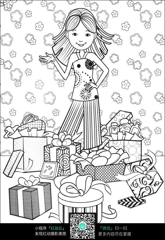 免费素材 图片素材 漫画插画 人物卡通 女孩的礼物卡通手绘填色线稿