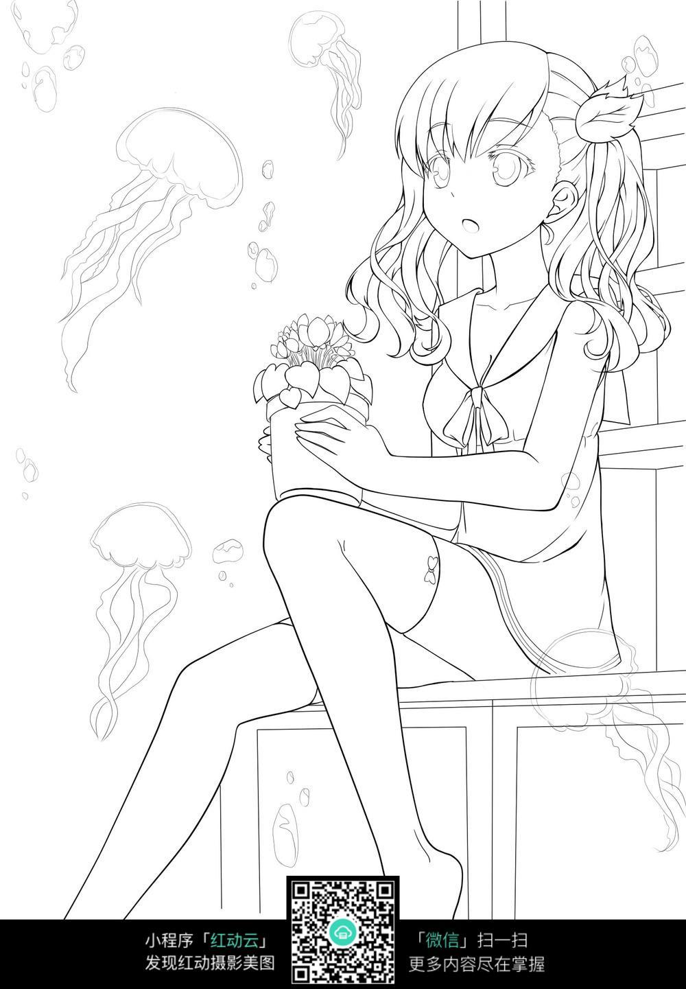 女孩和花盆卡通手绘线稿_人物卡通图片