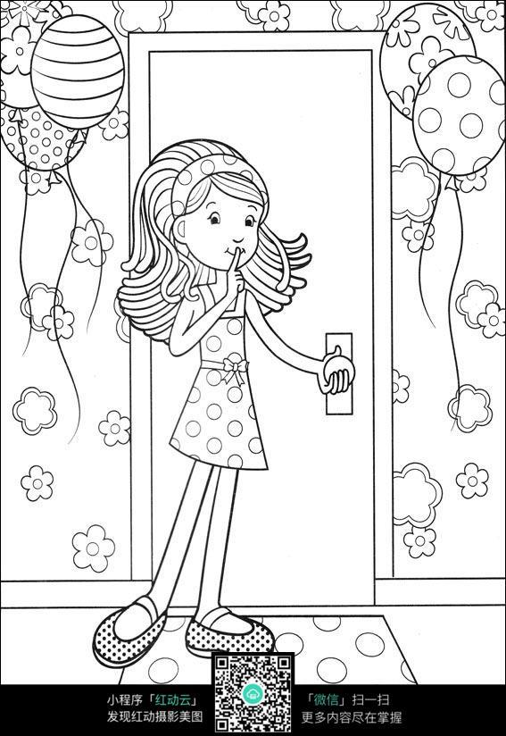 动物和热气球卡通手绘线稿_人物卡通图片_红动手机版