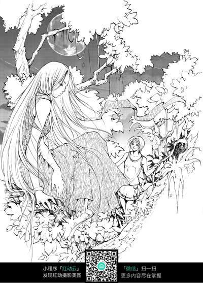 女孩和树卡通手绘线稿