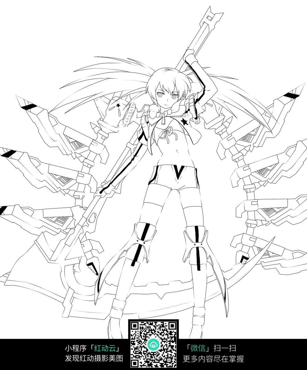 女孩和武器卡通手绘线稿图片