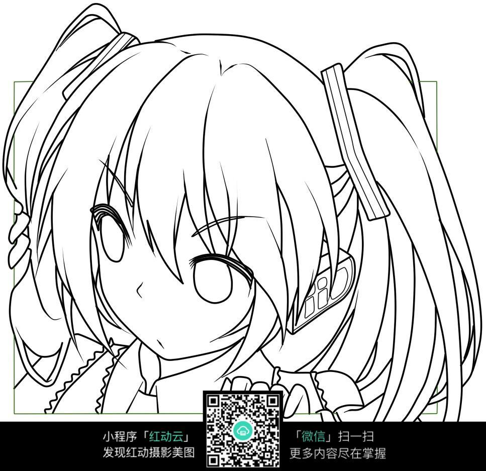 女孩头像卡通手绘线稿_人物卡通图片_红动手机版