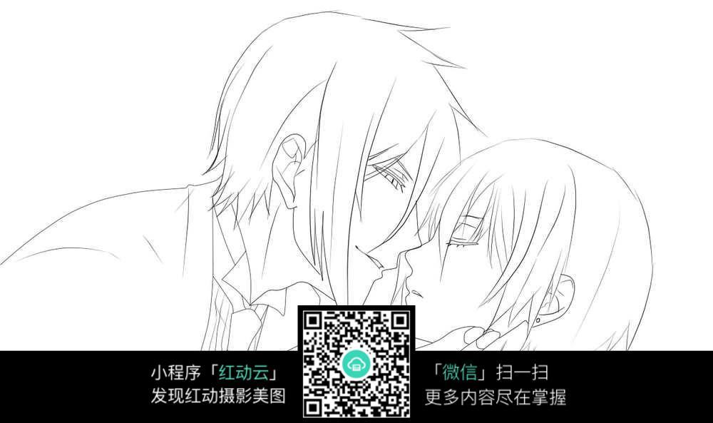 情侣亲吻动漫人物线描