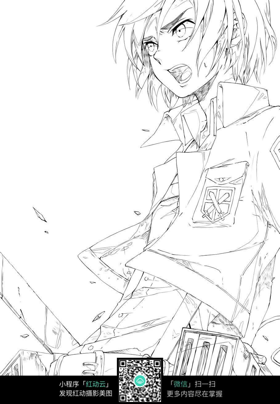 少年卡通手绘线稿