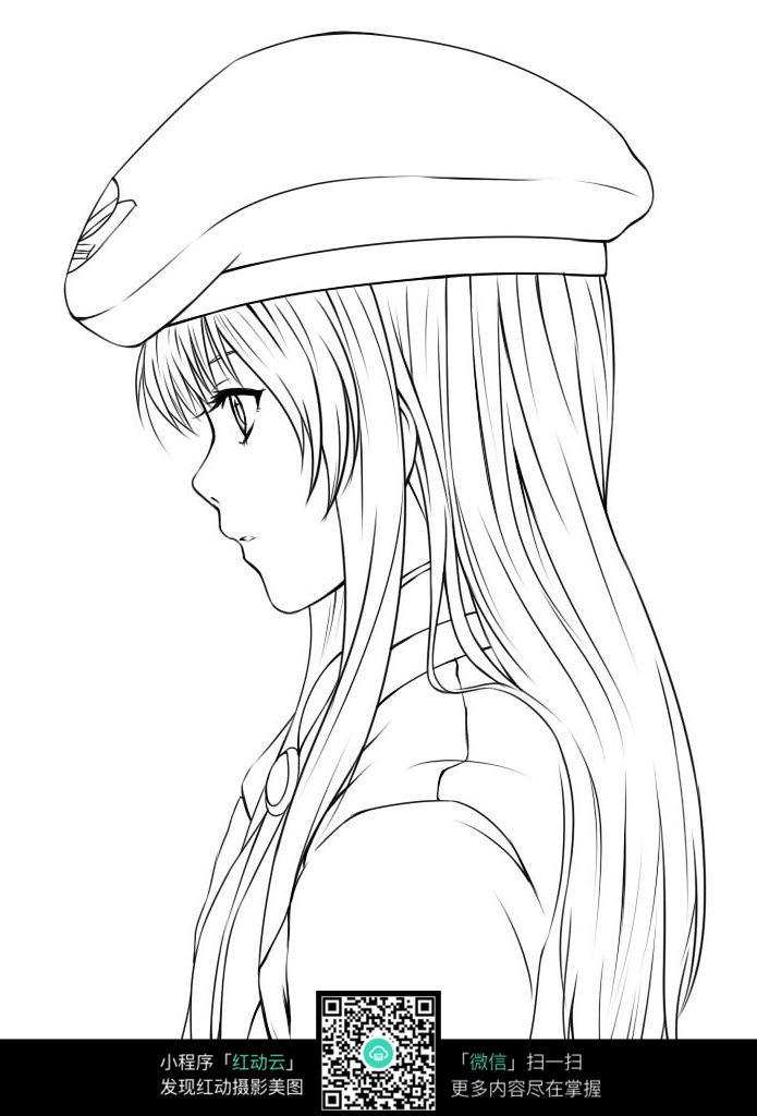 少女侧影卡通手绘线稿