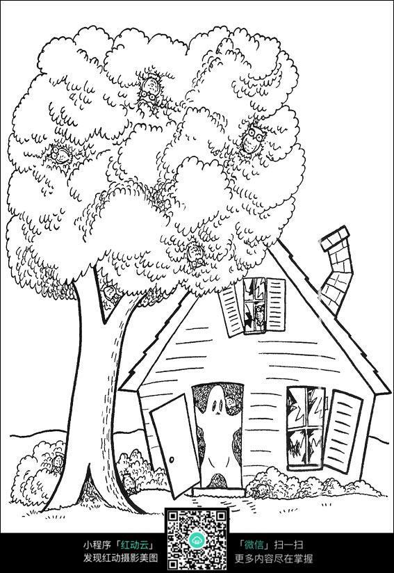 树和房子卡通手绘线稿