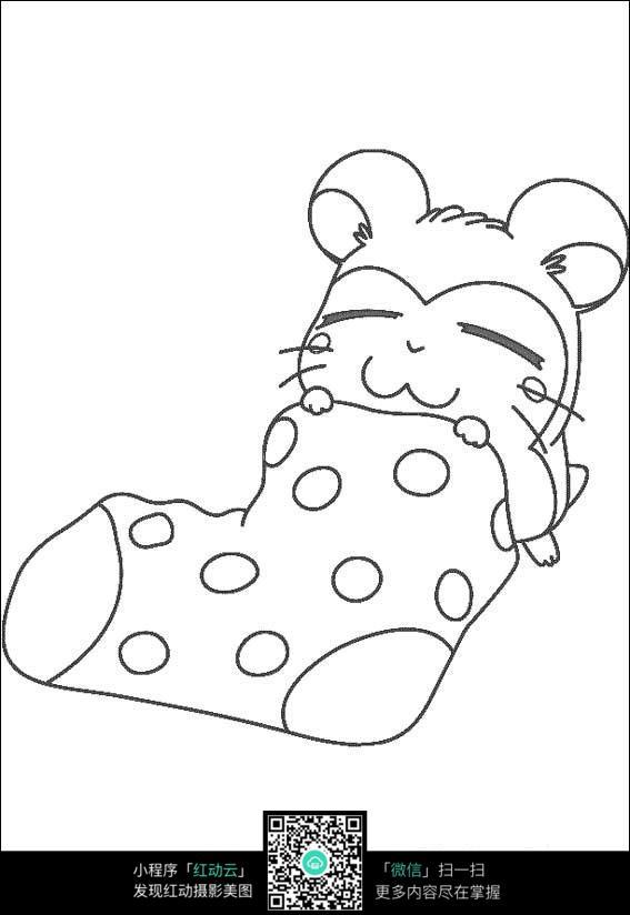 睡觉的小动物卡通手绘线稿