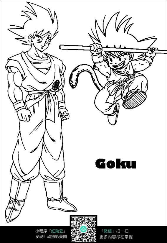 孙悟空人物动漫卡通线描