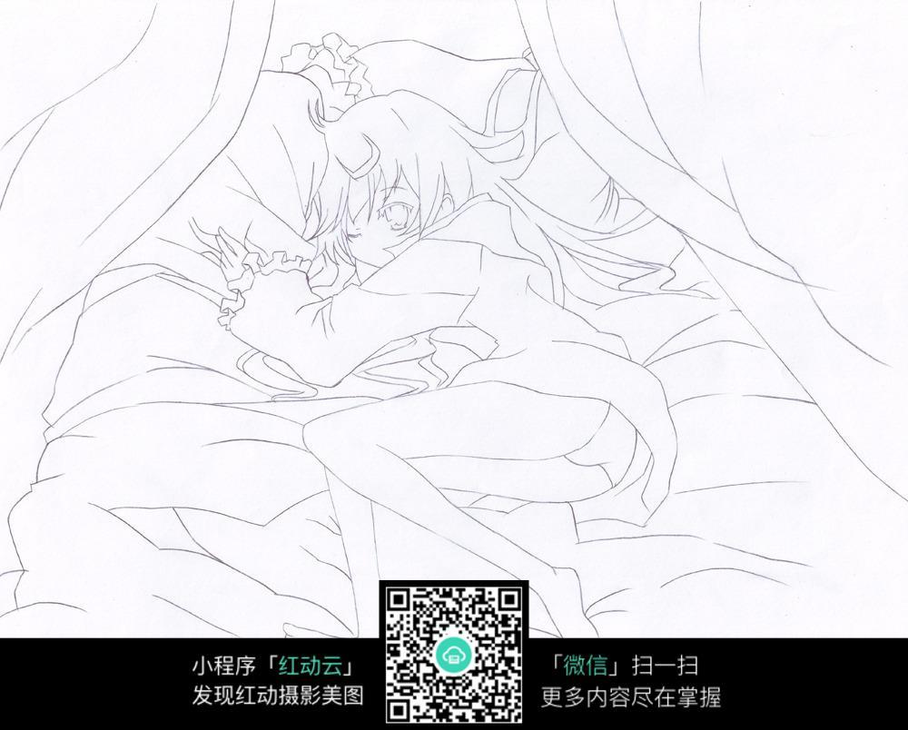 躺着的女孩卡通手绘线稿