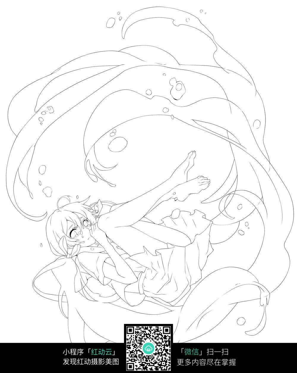 侧躺的女孩卡通手绘线稿_人物卡通图片_红动手机版