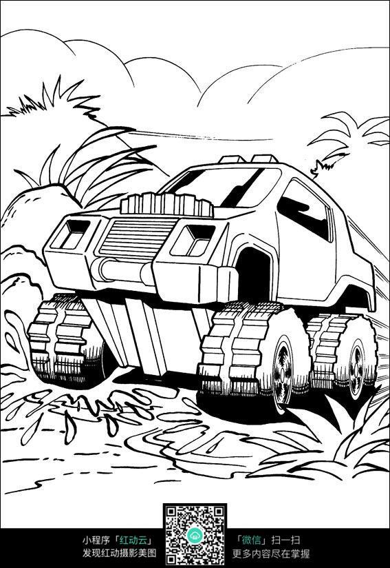 免费素材 图片素材 漫画插画 人物卡通 坦克山地行走线描  请您分享