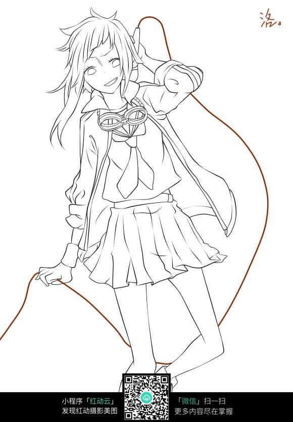 跳舞的少女卡通手绘线稿