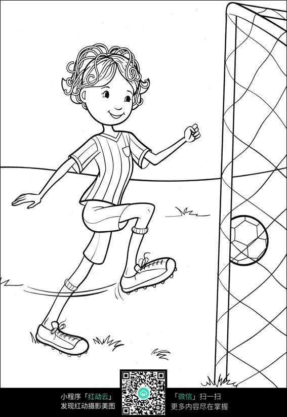 踢足球的女孩卡通手绘填色线稿jpg图片