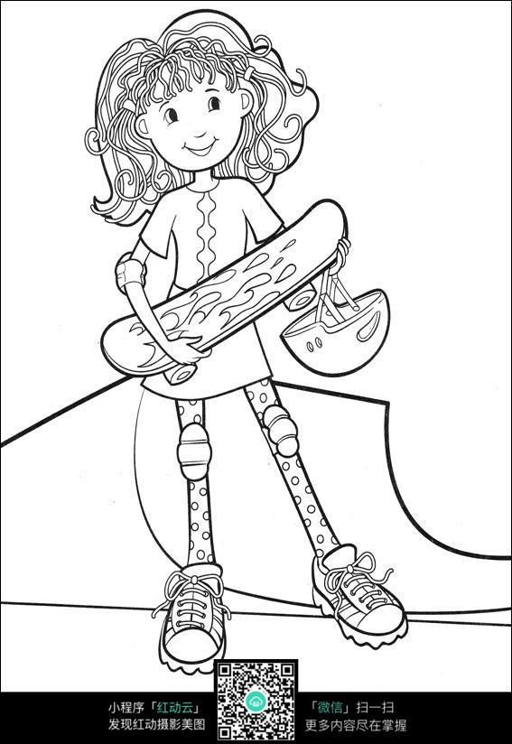 雨中玩耍的女孩卡通手绘填色线稿jpg_人物卡通图片_红