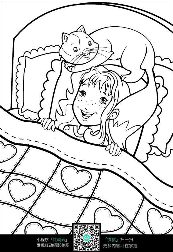 小女孩躺在被窝里图片