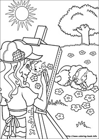 卡通女孩野餐图片