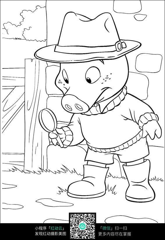 小猪拿着放大镜图片_人物卡通图片
