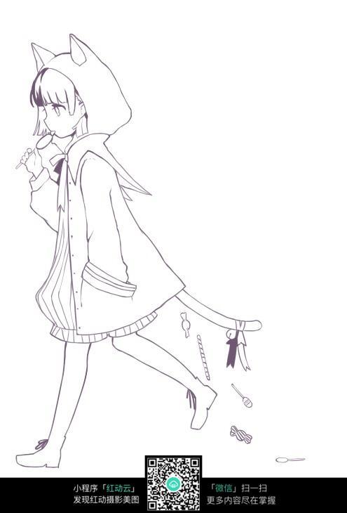 走路的女孩卡通手绘线稿