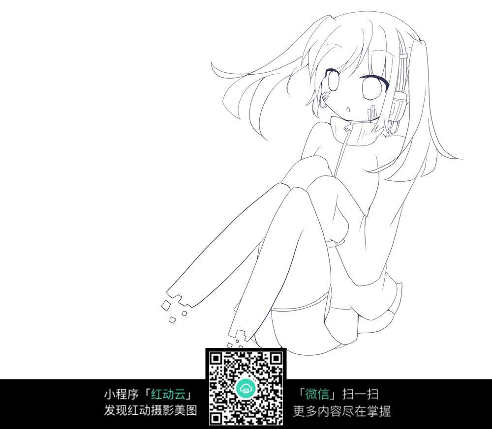 免费素材 图片素材 漫画插画 人物卡通 坐着的女孩卡通手绘线稿  请您