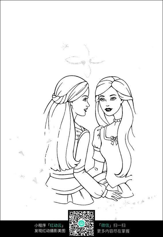 免费素材 图片素材 漫画插画 人物卡通 芭比娃娃照镜子