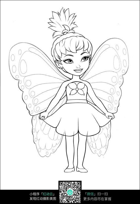 手绘 素材 速写 涂鸦 线稿 线画 线描 写生 芭比娃娃之蝴蝶仙子 插画