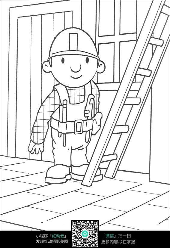 免费素材 图片素材 漫画插画 人物卡通 巴布准备爬梯子  请您分享: 红