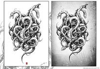 《八岐》缠绕的蛇钢笔线描画