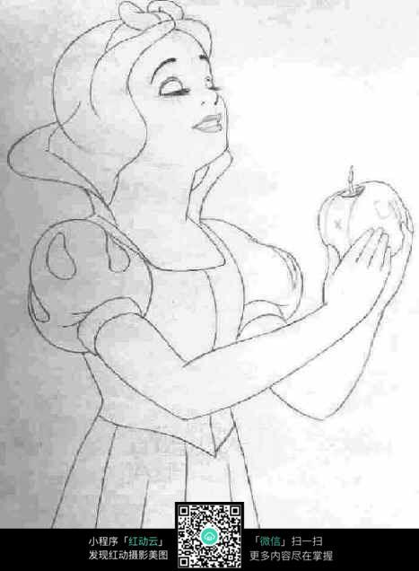 免费素材 图片素材 漫画插画 人物卡通 白雪公主拿着苹果  请您分享