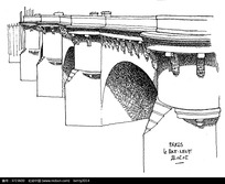 巴黎桥梁建筑手绘线描图