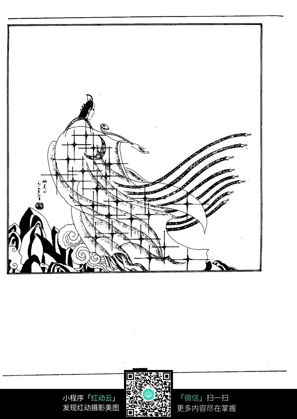 炳灵公古典线描人物线描