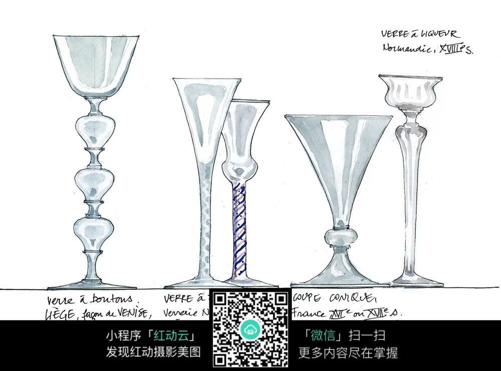 玻璃杯水彩手绘线描图