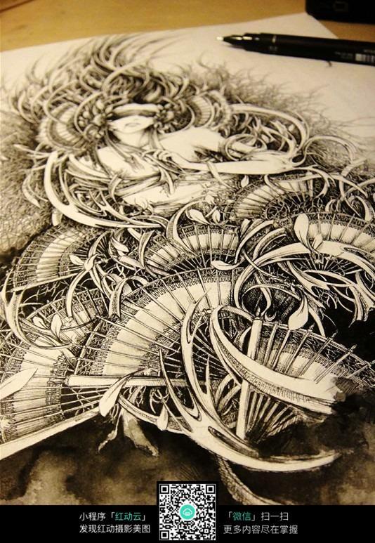 《不静》蒙眼美女创意水墨素描画
