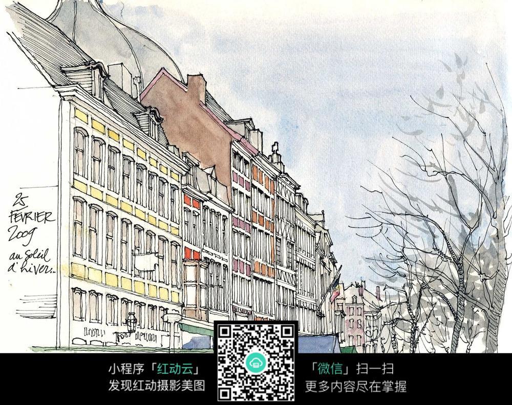 彩色城市街道房屋手绘